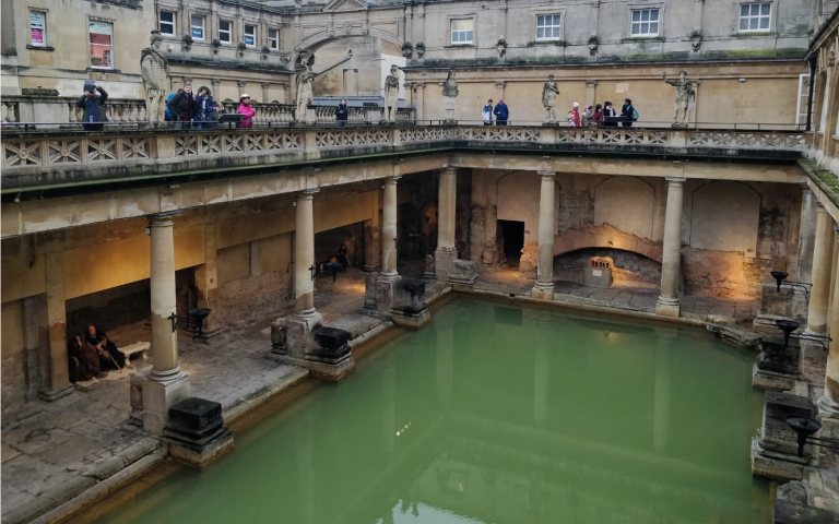 Photo shows the Roman Baths in Bath, UK.