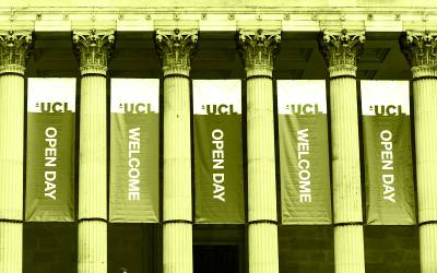 Open day banners on the portico of UCL main quad