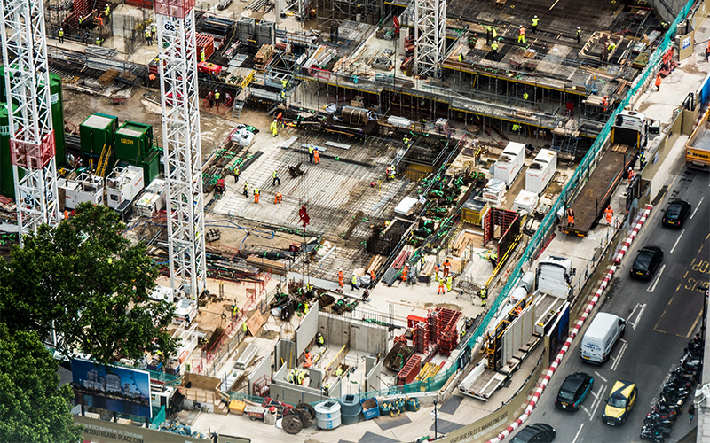 Birds eye view of building site in London
