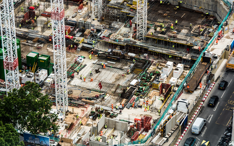 Bird's eye view of construction site in London