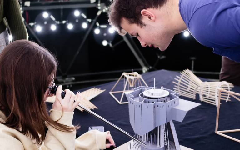 Students conducting a lighting experiment in The Bartlett Artificial Sky