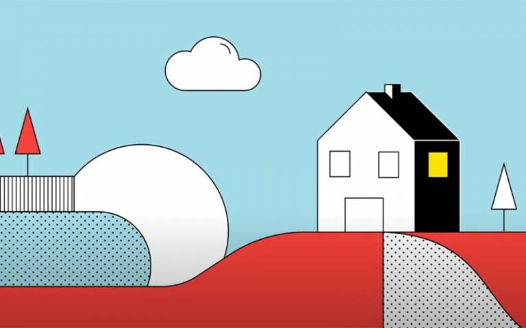 drawing of a house on a red hill with a light blue background with clouds in the sky