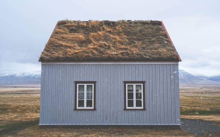 Wooden house with grass roof