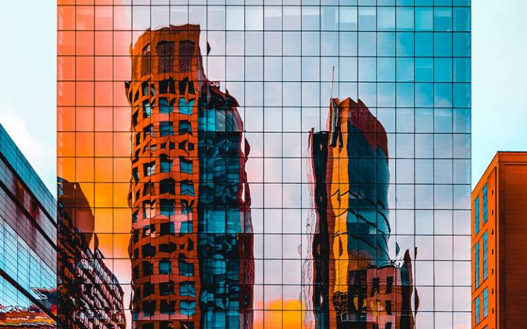 Reflection of buildings on another building