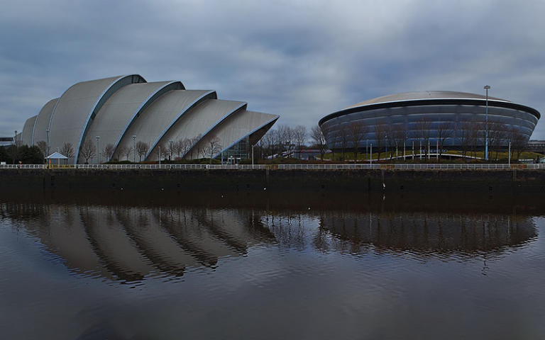 Photo shows the Armadillo and Hydro venues, part of the Scottish Events Campus in Glasgow.