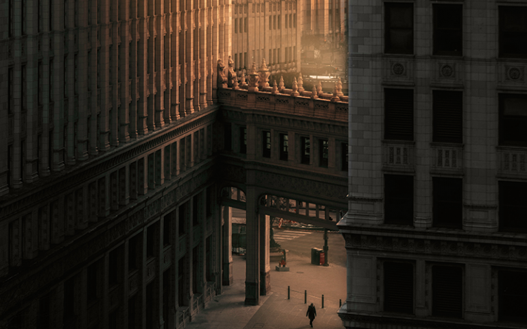 Photo taken in downtown Chicago shows remote city streets