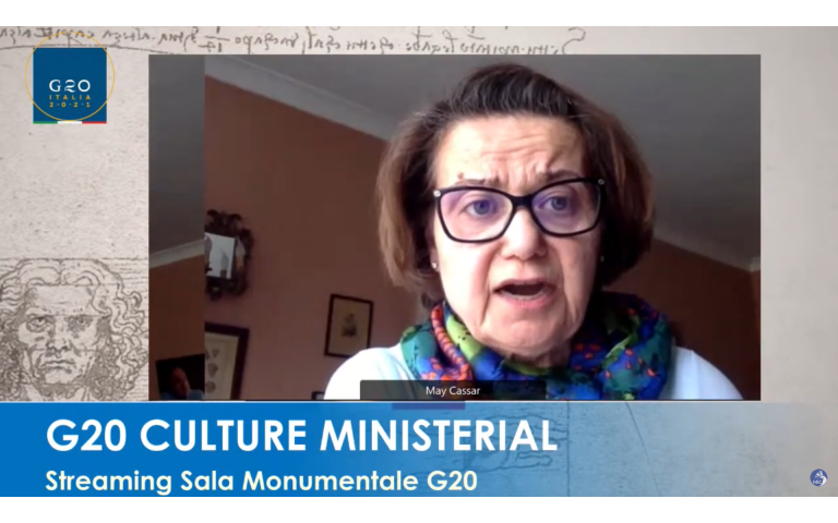 Professor May Cassar presenting at the G20 Culture Ministerial