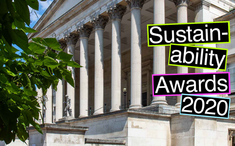 UCL Portico columns with colourful text overlay reading: Sustainability Awards 2020