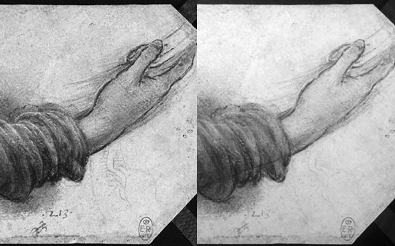 Leonardo Da Vinci drawing b&w multispectral imaging
