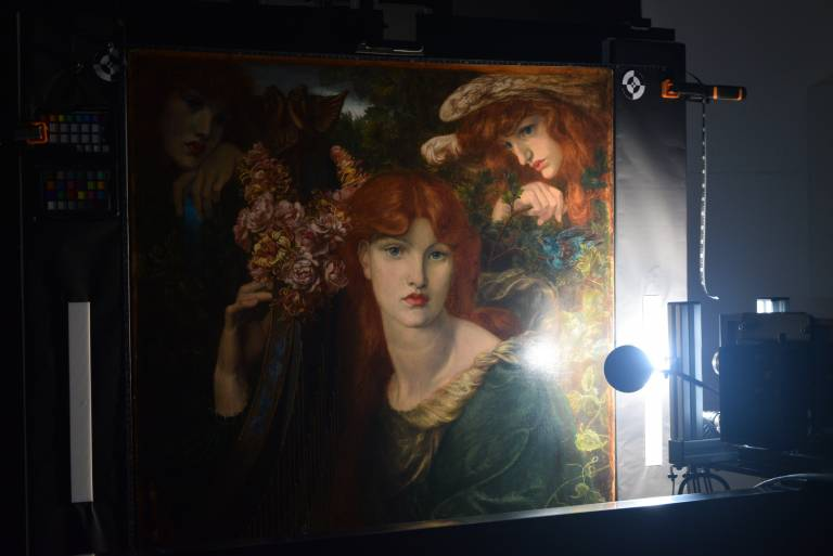 This is an example of our hyperspectral imaging system, when we had the opportunity to image a painting called La Ghirlandata by Rossetti before it was cleaned