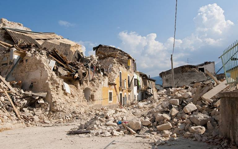 Photo showing the aftermath of an eathquake in Abruzzo, Italy.