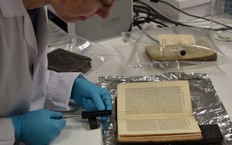 The smell of an old book being extracted in the Heritage Science Lab