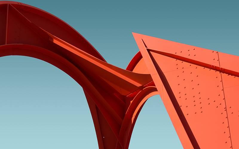 Photo of modern steel construction in bright orange