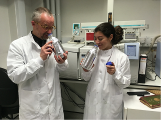 Cecilia and Matija smelling heritage objects in a lab