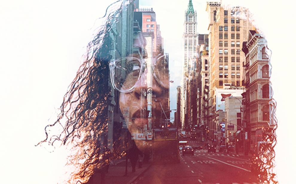 Woman with a cityscape in her mind