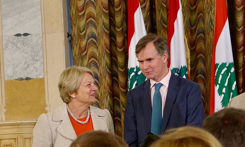 Professor Henrietta Moore with UK Ambassador to Lebanon Hugo Shorter