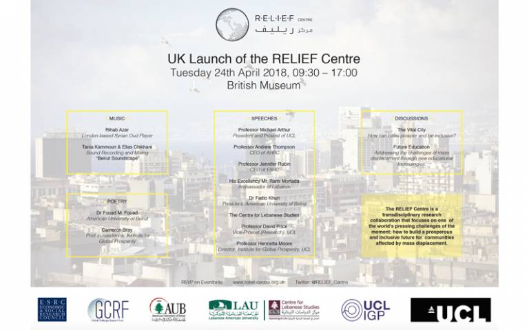 Programme for the RELIEF Centre launch event, April 2018