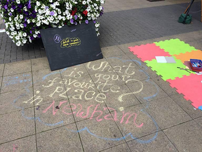 Newham 50th Anniversary chalk