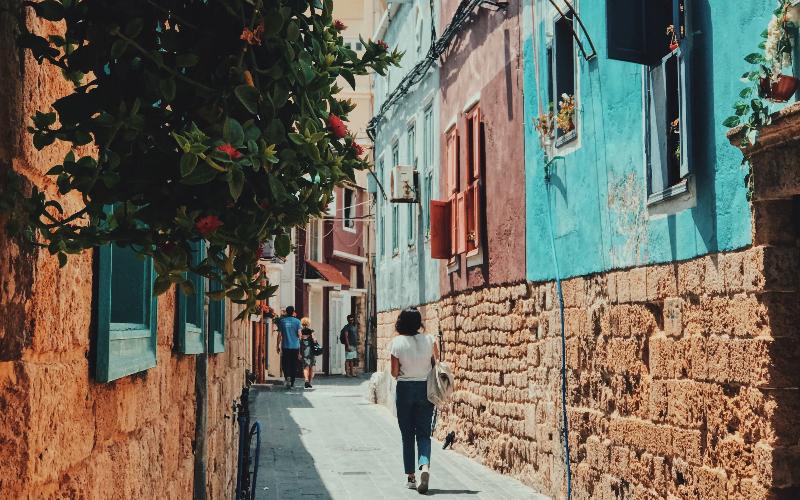 Woman walking down Beirut streets