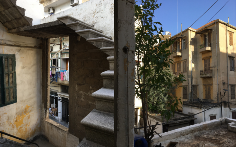 A staircase and a roof top in Mar Mikhael Beirut