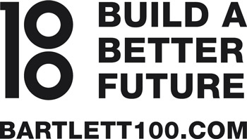 Bartlett 100 logo alongside the words 'Building a better future' and 'bartlett100.com'