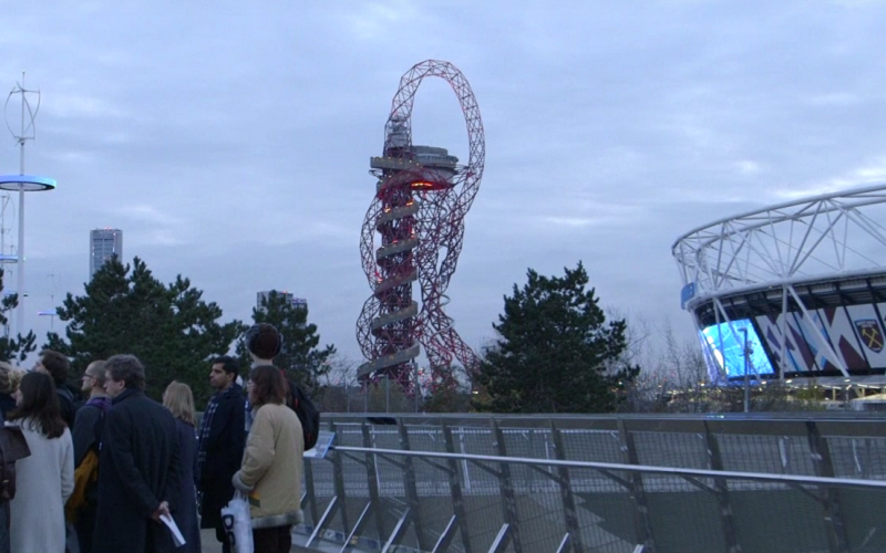 olympic park, walkers and orbit tower