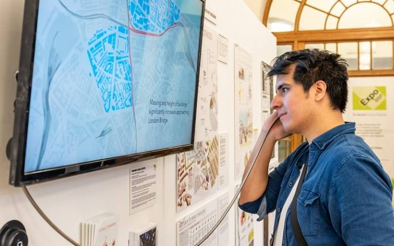 Student looking at screen at expo 2019
