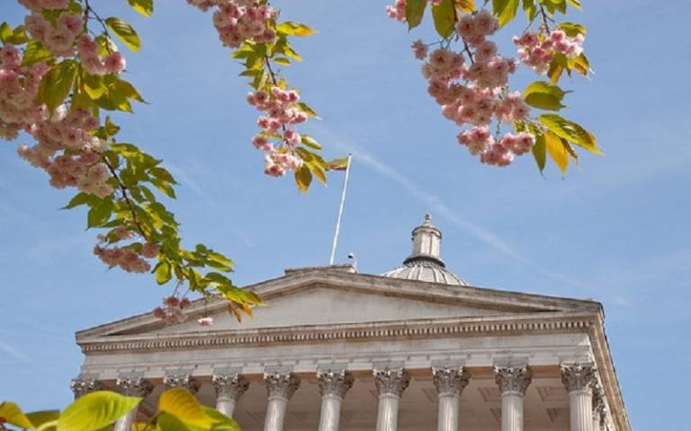 UCL Portico and tree blossoms