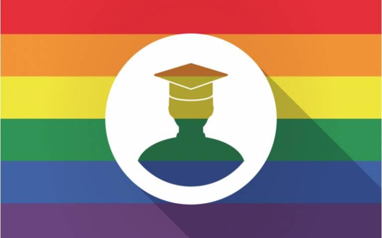 LGBTQ flag and university student illustration