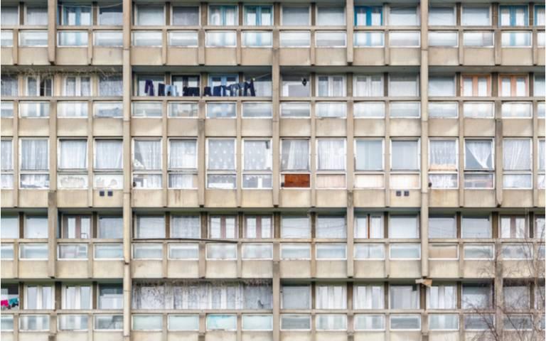 Dilapidated block of flats