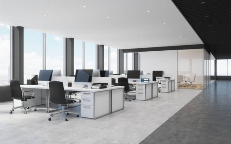 Digitalised office interior white