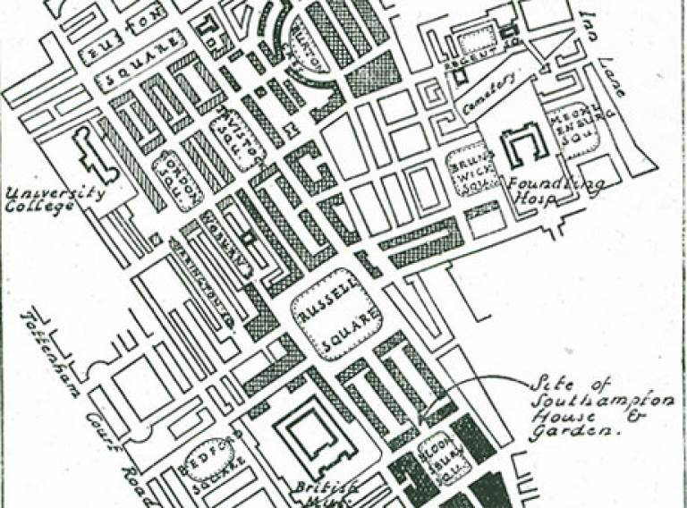 Nineteenth centry map showing Bloomsbury development