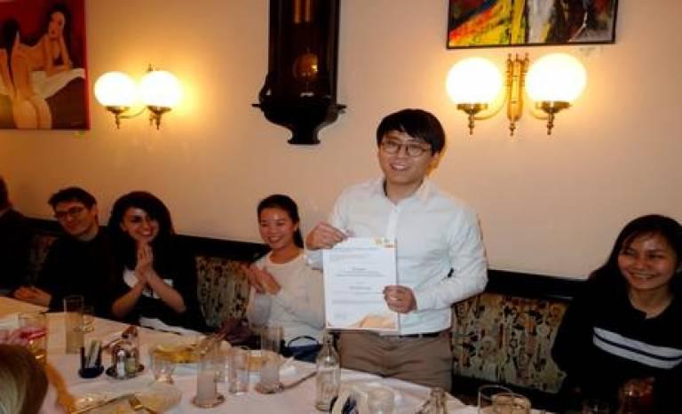Zheng Wang with his AESOP award