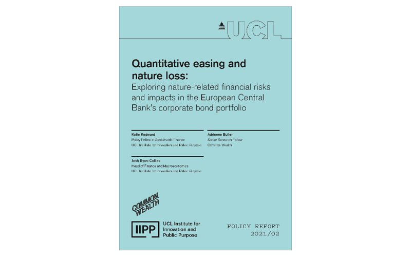 Quantitative easing and nature loss - ECB report front cover