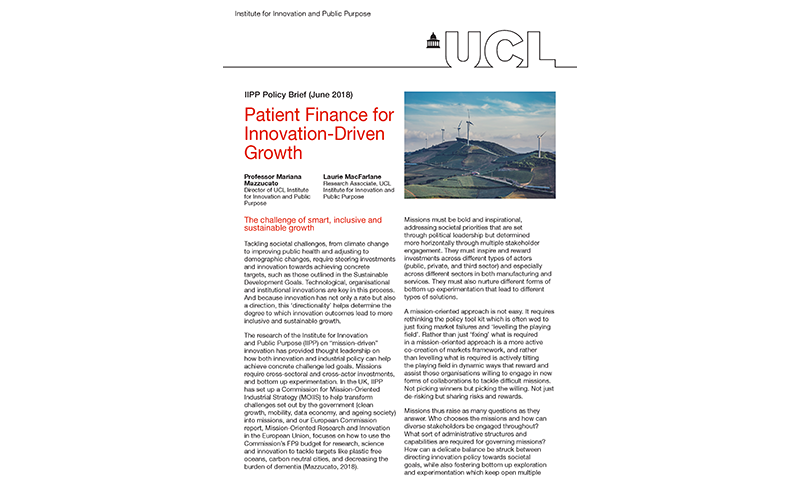 Patient Finance for Innovation-Driven Growth