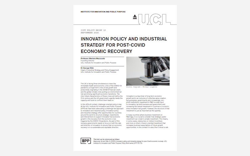 Innovation policy and industrial strategy for post-Covid economic recovery