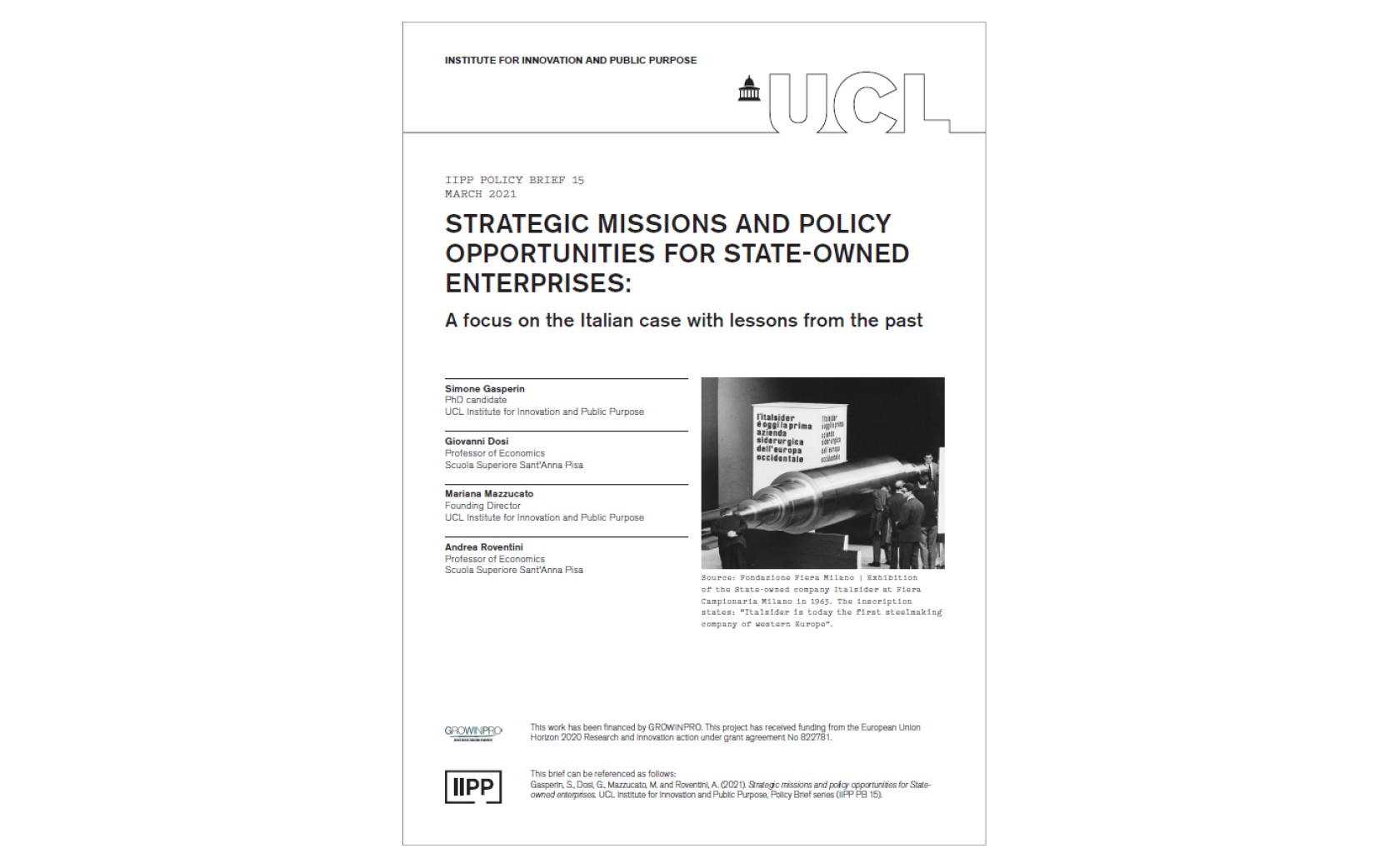 IIPP PB15: Strategic missions and policy opportunities for State-owned enterprises