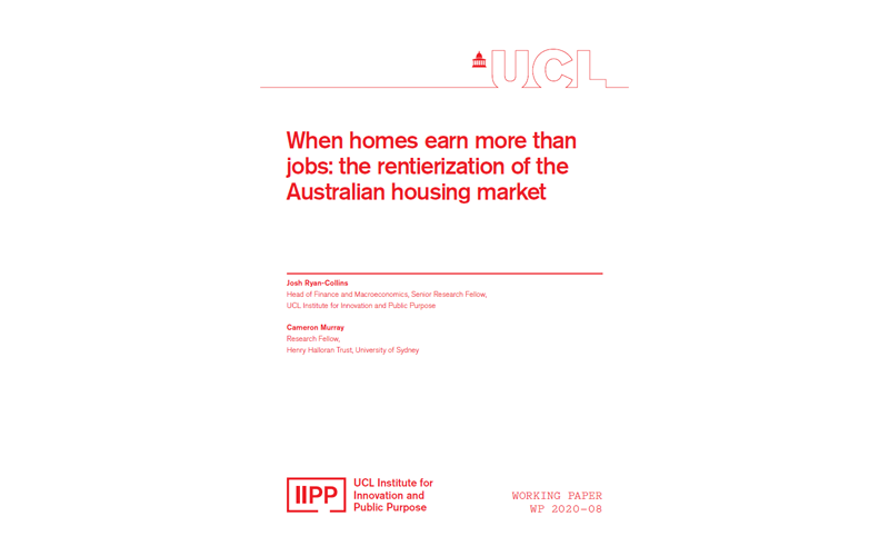 When homes earn more than jobs: the rentierization of the Australian housing market