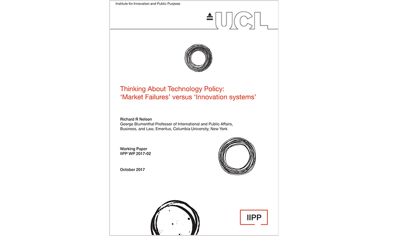 Thinking about technology policy market failures versus innovation systems