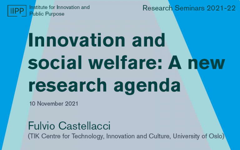 This image is a graphic for the talk titled 'Innovation and social welfare'. This talk forms part of the IIPP Research Seminar Series