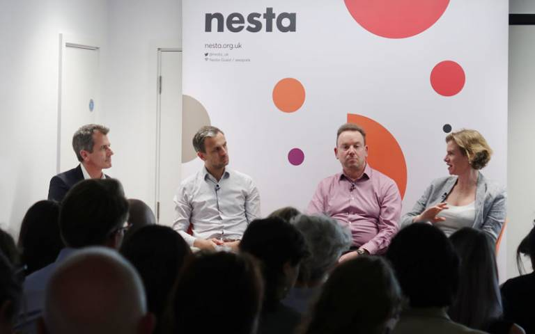 Jonathan Breckon, Josh Ryan-Collins, Geoff Mulgan and Mariana Mazzucato at Rethinking Public Value