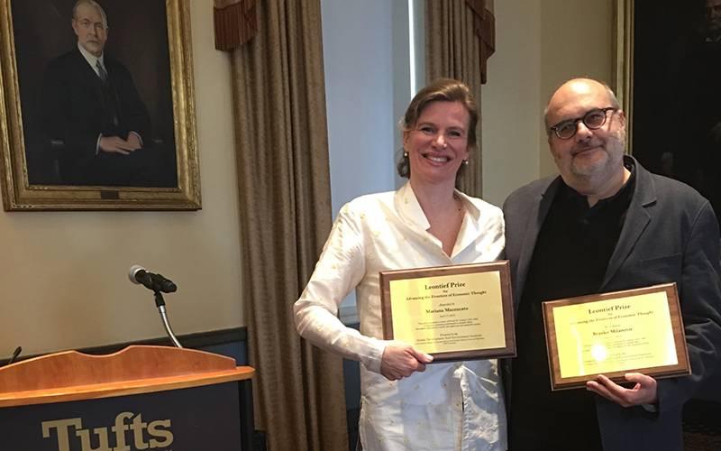 Mariana Mazzucato and Branko Milanović at Tufts University with their Leontief prize awards