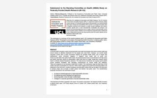 Submission to the Canadian Standing Committee on Health (HESA) Study on Federally Funded Health Research