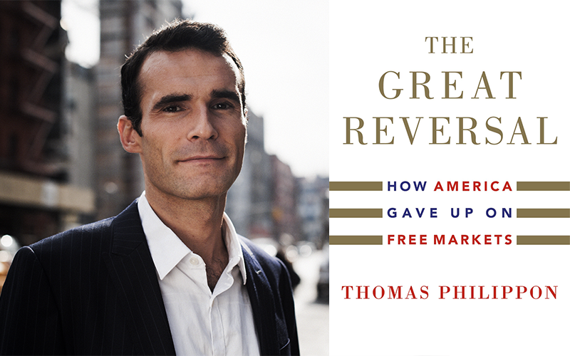 Thomas Philippon with book cover of The Great Reversal