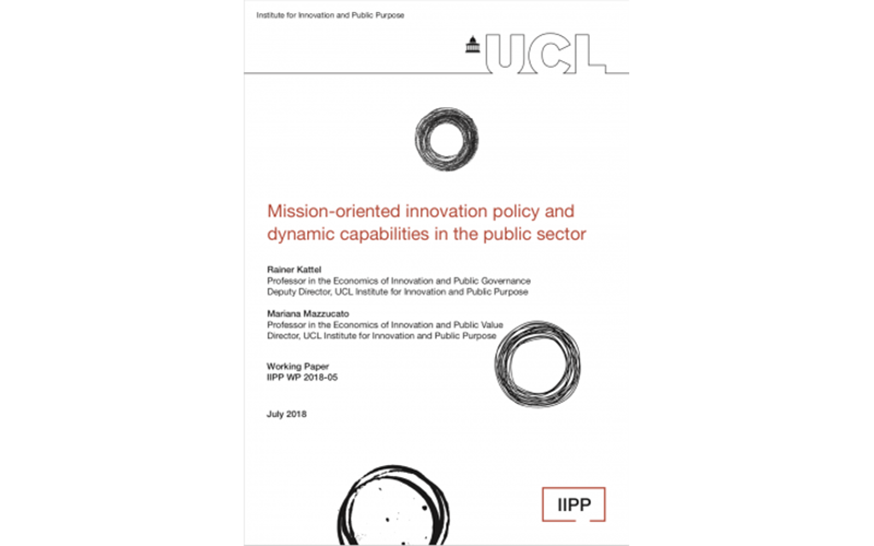 Cover of the working paper, Mission-oriented innovation policy and dynamic capabilities in the public sector