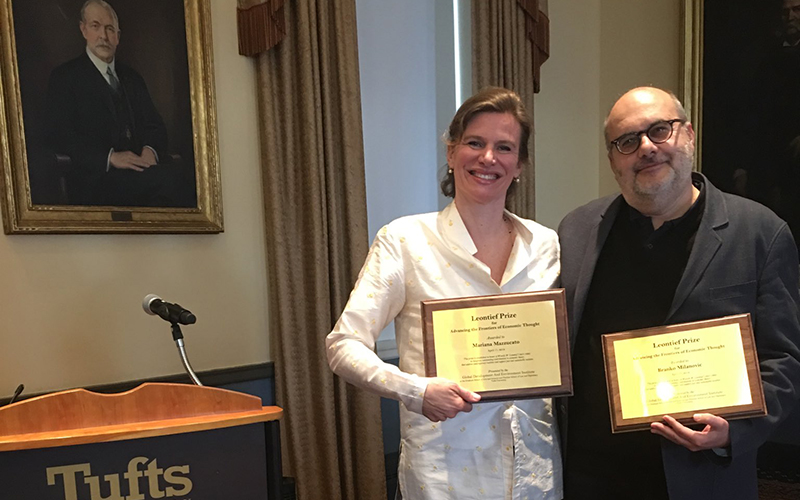 Mariana Mazzucato and Branko Milanović at Tufts University with their Leontief prize awards