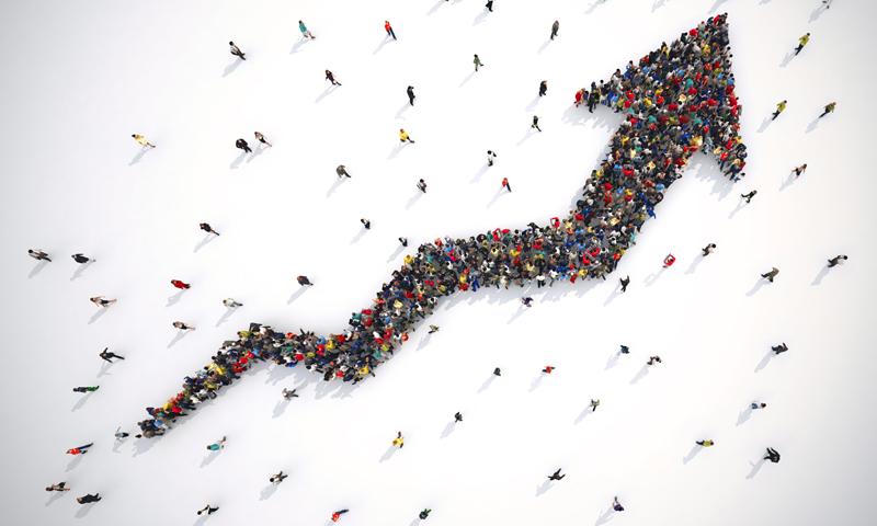 People forming an upward arrow