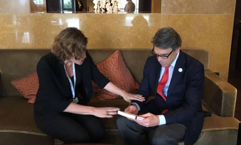 Mariana Mazzucato with Rick Perry, US Energy Secretary