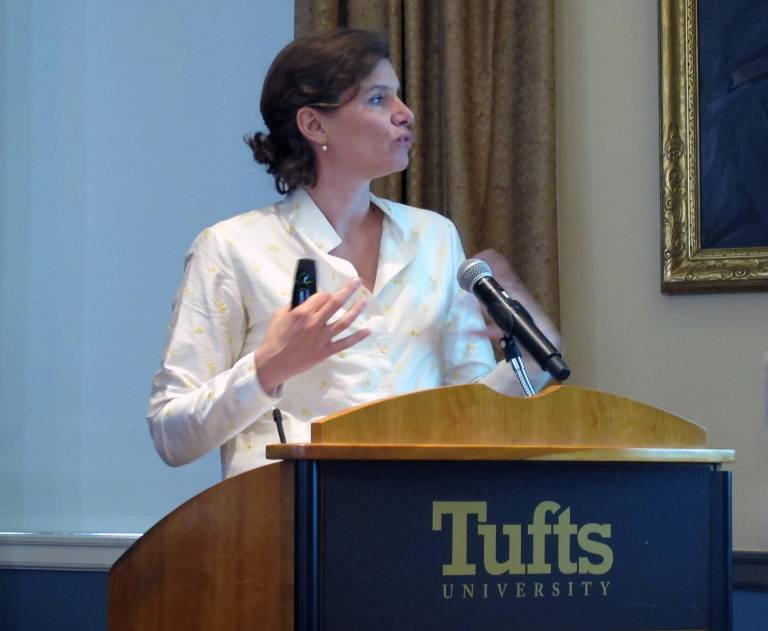 Mariana Mazzucato speaking at Tufts University on reframing growth policy