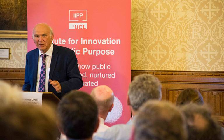 Vince Cable gives the keynote speech at IIPP workshop at the House of Lords